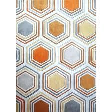 orange and white rug grey copper area chevron
