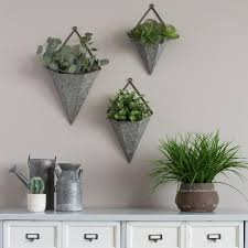 aluminum wall planters great stratton home decor 3 piece triangular galvanized metal