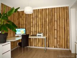 office with bamboo wall covering