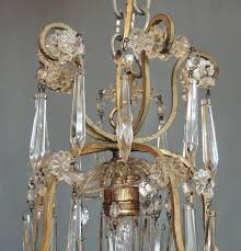 this small french neoclassical brass and crystal chandelier lantern made in the first half of the