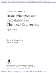 Chemical Reactor Analysis And Design Solution Manual Pdf Solutions Manual For Basic Principles And Calculations In