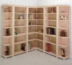 corner shelves furniture. Bucks Unpainted Furniture Corner Bookcases With Light Brown Colour Six Shelves Stuffed By Some Books And
