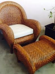 Pottery Barn Malabar Chair And Ottoman In Los Angeles County Throughout  Wicker Decor 13 Pottery Barn Rattan Chair T89