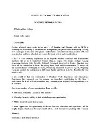 Cover Letter For Job Application 1