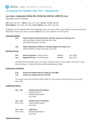 resume specialties examples advanced practice cv sample for nps and pas melnic