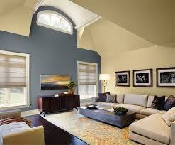 living room classy warm paint color with blue wall grey colors and wooden shelves gra full