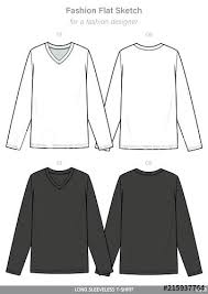 Long Sleeve T Shirts Fashion Flat Sketches Technical Drawings Pack