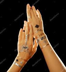 татуировки на руки женские серебряный и золотой Flash татуировка на