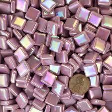 glass mosaic tile lavender pink irid12b057