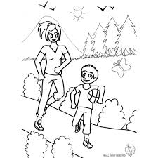 Disegno Di Mamma E Figlio Al Parco Da Colorare Per Bambini