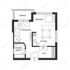 architect furniture. Vector - Illustration. Architect Plan Of Building With A Furniture. Flat Design Furniture N