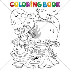 coloring book shipwreck with rocks eps10 vect