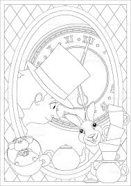 Small Picture Coloring Page Alice In Wonderland Mad Tea Party stock vector art