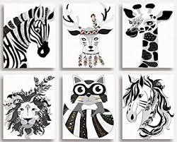 Set Di 6 Stampe Black White Animal Nursery Wall Art Per Camera