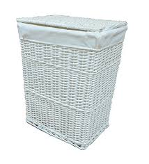 White Wicker Laundry Basket With Liner