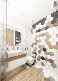 hex tiles mosaics on the wall and wooden floors make the bathroom hoht