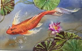 here is my finished painting of the koi fish