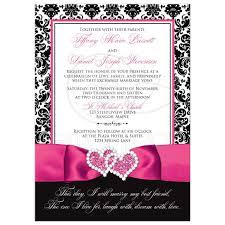 Wedding Invitation Photo Optional Black And White Damask Printed Pink Ribbon Joined Hearts