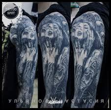 фото татуировки девушка в стиле авторский реализм сюрреализм черно