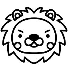 ライオンのアイコンイラスト 白黒ヤギさん フリー素材イラスト