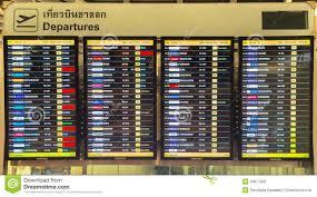 Bangkok April 4 Passengers Checking The Flight Schedule On