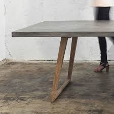 Dining Tables, Charming Gray Rectangle Rustic Wooden Concrete Dining Table  Stained Design: top concrete ...