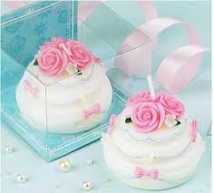 Rose Flowers Cream Cake Design Candle Favors Creative Candle Smoke