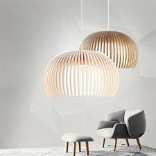 modern wooden pendant lights minimalist cage home decorative led hanging pendant lamp for dining room bar indoor lighting drum pendant light ceiling light