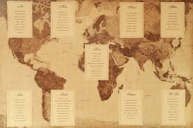 Map Seating Chart Wedding Vintage World Map Seating Chart