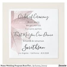 Name Wedding Program Rose Floral Funny Quotes Napkin