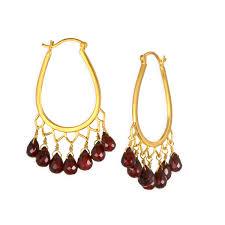 satya garnet chandelier earrings
