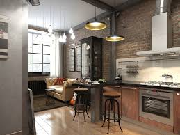 Exposed Brick Kitchen Kitchen Rustic Industrial Style Exposed Brick Wall With Gorgeous