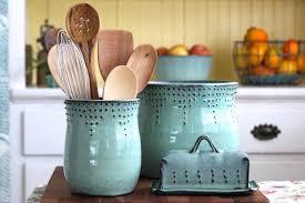 Kitchen Utensil Holder Utensil Holder Medium Size Aqua Mist Hand Thrown Vase