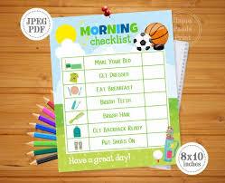Morning Checklist Printable Boy Morning Routine Checklist