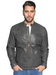 pepe jeansleather jacket grey