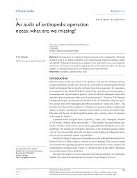 Pdf Clinical Audit An Audit Of Orthopedic Operation Notes