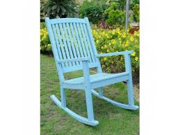 sky blue large wooden rocking chair