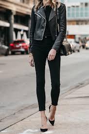 club monaco black leather jacket black sweater black skinny jeans black pumps chanel boy bag fashion