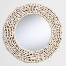 round white wood bead wall mirror v1