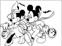 Small Picture Mickey And Minnie Halloween Coloring For Kids Mickey Mouse