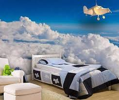 Airplane Themed Room With Realistic Wallpaper Mural And White Platform Bed  And Sky Blue Ideas Also Fabric Armchair Furniture With Ottoman And Wood  Floor ...