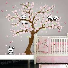 cherry blossom wall sticker panda bear cherry blossom tree wall decal for nursery vinyl self adhesive