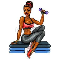 Image result for cartoons of women doing weight exercises