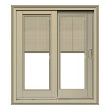 tan french sliding patio door with blinds between glass