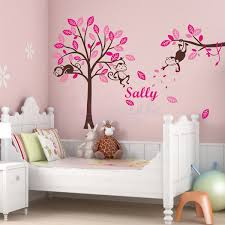 girl s personalised name monkey hanging over tree wall sticker brown xlarge