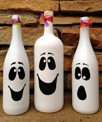Wine Bottles Decorated For Halloween Halloween Ghost Wine Bottle Décor Cute Autumn Halloween 2