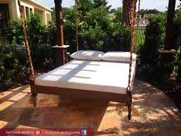 White Color Of Bedlinen Pillows On Hanging Bed With Travertine Also In  Outdoor Garden Of Home ...