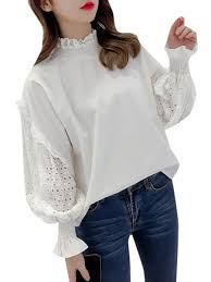 Collar Style Neck Design Womens Blouse Sweet Style Solid Color Hollow Out Design Stand Collar Blouse