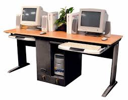home office desktop pc 2015. Black Steel Computer Desk With Brown Wooden Counter Top And Two Computers Also Storage Placed On Home Office Desktop Pc 2015