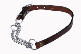 happy tail leather choke collar chain and soft leather leash with brass hook